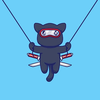 Cute cat with ninja costume jumping and flying with rope