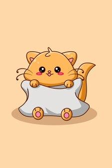 枕動物漫画イラストとかわいい猫