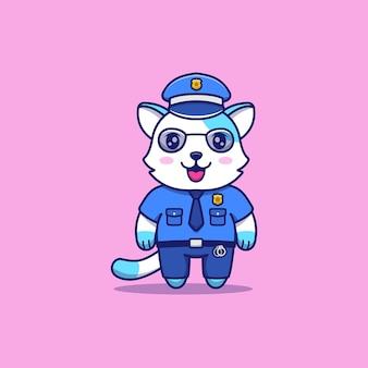 경찰 제복을 입은 귀여운 고양이