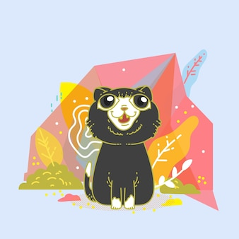 Cute cat with polygonal design