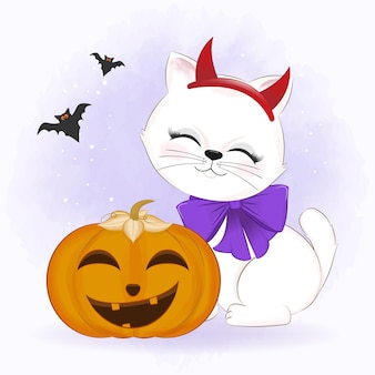 Cute cat with pumpkin and bat hand drawn cartoon animal halloween illustration