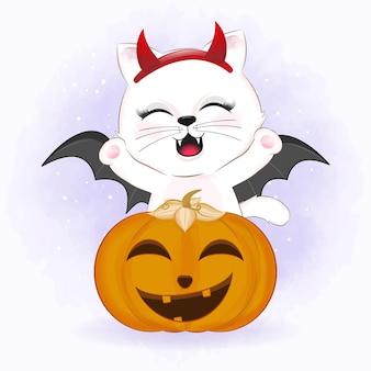 Милый кот с тыквой мультяшное животное хэллоуин иллюстрация