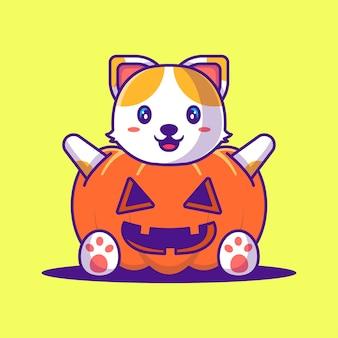 Милый кот с иллюстрацией шаржа костюма тыквы. хэллоуин плоский мультяшный стиль концепции