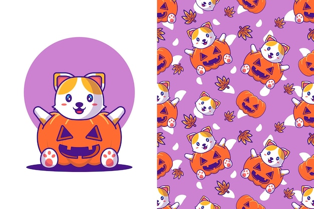 Cute cat with pumpkin costume happy halloween with seamless pattern