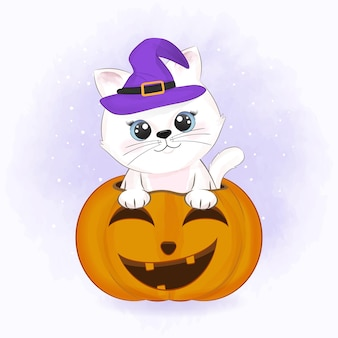 Cute cat with pumpkin and drawn cartoon animal halloween illustration