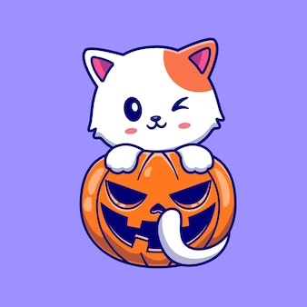 호박 할로윈 만화 벡터 아이콘 일러스트와 함께 귀여운 고양이입니다. 동물 휴가 아이콘 개념 절연 프리미엄 벡터입니다. 플랫 만화 스타일