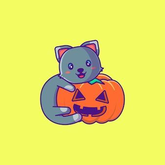 호박 해피 할로윈 만화 일러스트와 함께 귀여운 고양이