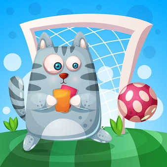 Cute cat with rad, yellow card play football.