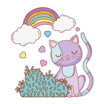 Cute cat with rainbow clouds and bush