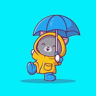 レインコートと傘の漫画アイコンイラストのかわいい猫。分離された動物アイコンコンセプト。フラット漫画スタイル
