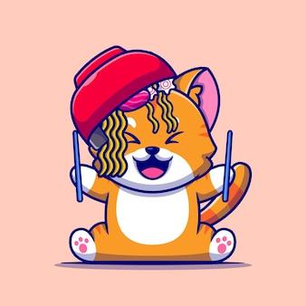 Милый кот с миской лапши рамэн и мультяшный значок палочки для еды.
