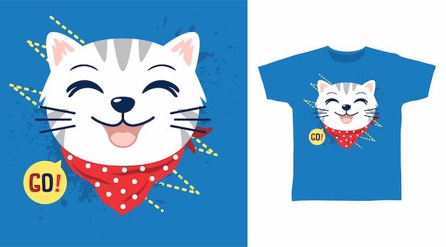 빨간 두건 티셔츠 디자인의 귀여운 고양이