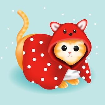 Милый кот в красном костюме на рождество.