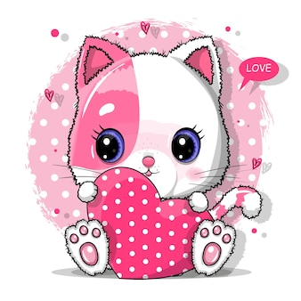 バレンタインデーのイラストの赤いハートのかわいい猫