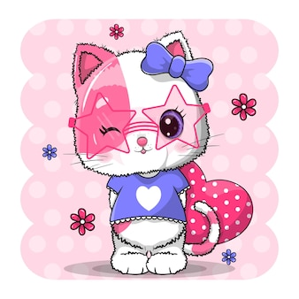 Cute cat with red heart for valentine's day   illustration