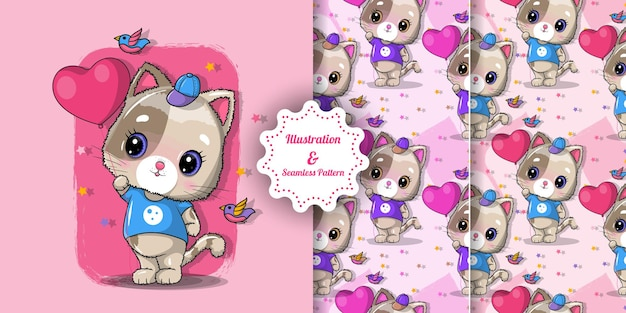 Cute cat with red heart for valentine's day and pattern set