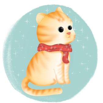 Милый кот с красным шарфом на рождество.