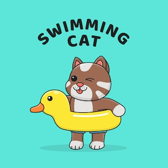 Cute cat with rubber duck float