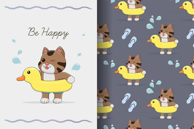 Cute cat with rubber duck seamless pattern and card