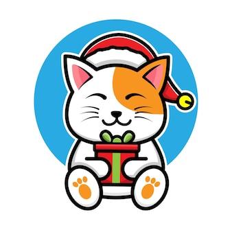 Cute cat with santa hat cartoon vector christmas concept illustration