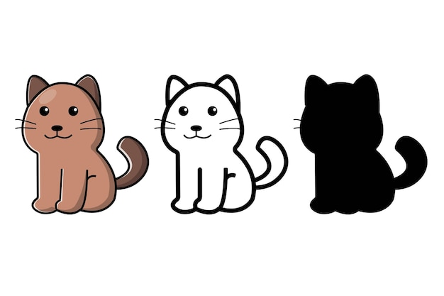 Cute cat with silhouette collection. vector cartoon illustration. isolated on white background.