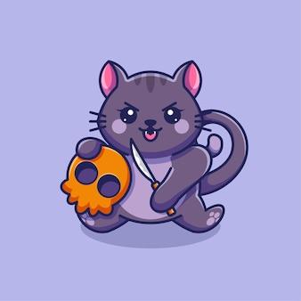 Милый кот с черепом мультяшный дизайн