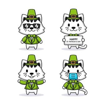 성 패트릭의 날 의상을 입은 귀여운 고양이