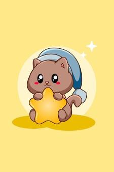 Cute cat with star animal cartoon illustration