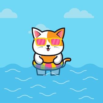 Милый кот с плавательным кольцом иллюстрации шаржа животных летней концепции