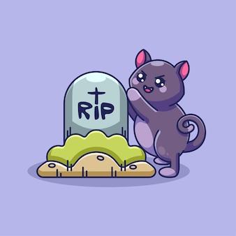 Милый кот с мультяшным надгробием