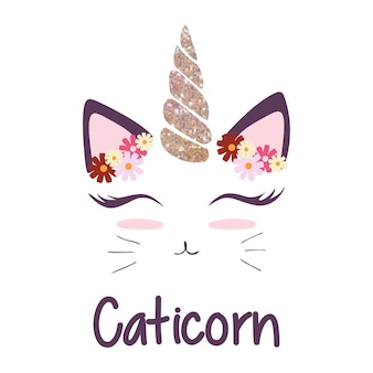 Cute cat with unicorn horn and flower