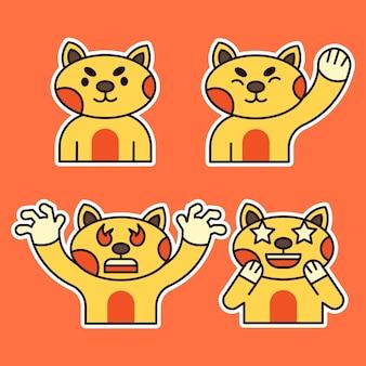 様々な表情のイラストがかわいい猫。怒り、驚き、手を振る表現。
