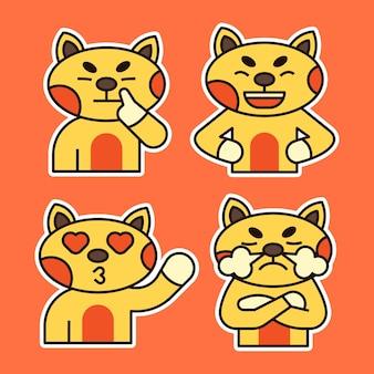 様々な表情のイラストがかわいい猫。混乱、愛と幸せな表現。