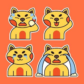 様々な表情のイラストがかわいい猫。泣き、失望し、舌を出す表現。