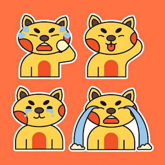 Cute cat with various expression illustration. crying , disappointed and tongue out expression.