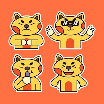 Cute cat with various expression illustration. eating, angry and cool expression.