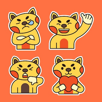 Cute cat with various expression illustration. sleepy, in love and shock expression.