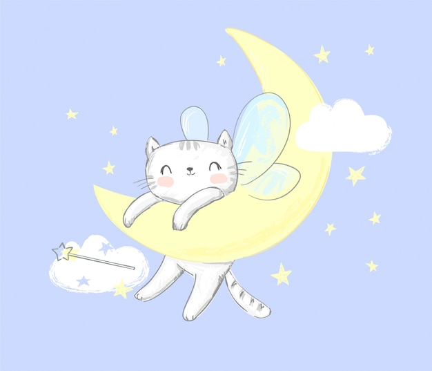 Cute cat with wings sleeps on the moon.