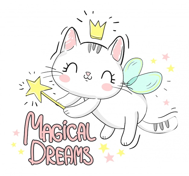 Cute cat with wings and wand. letters- magical dreams.