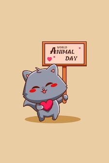 Cute cat with world animal day text cartoon illustration