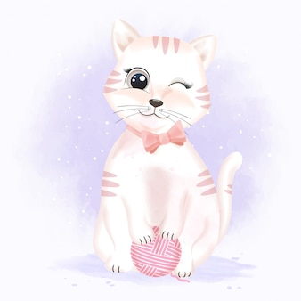 Симпатичный кот с пряжи мяч рисованной иллюстрации
