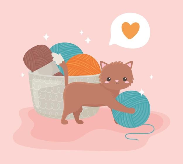 털실 공을 가진 귀여운 고양이