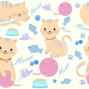 Cute cat with yarn and toy seamless pattern