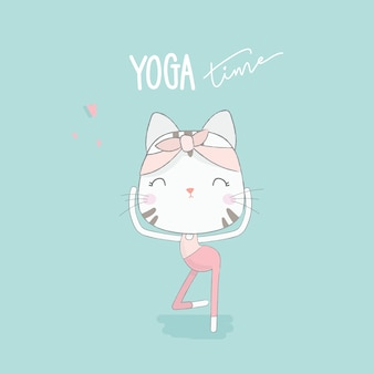 Cute cat with yoga post