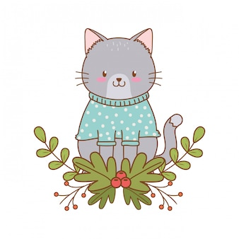Cute cat woodland character