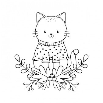 Cute cat woodland character