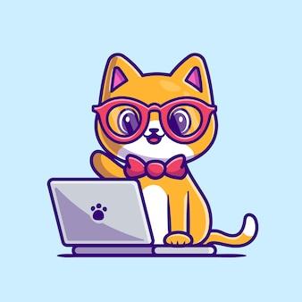 Cute cat working on laptop cartoon icon illustration.