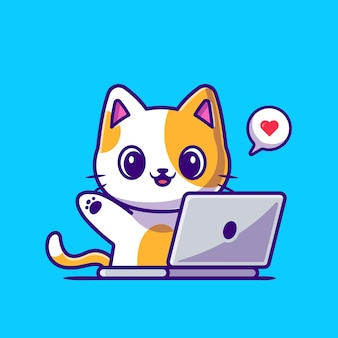 ノートパソコンの漫画のアイコンイラストに取り組んでいるかわいい猫。