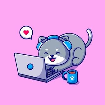 ノートパソコンの漫画イラストに取り組んでいるかわいい猫。分離された動物技術の概念。フラット漫画スタイル