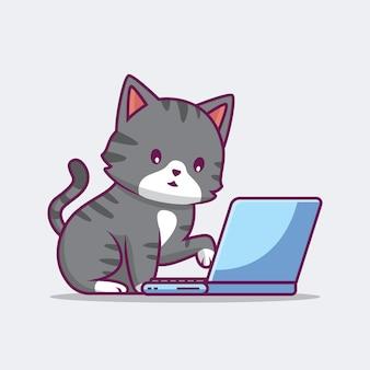 ノートパソコンの漫画イラストに取り組んでいるかわいい猫
